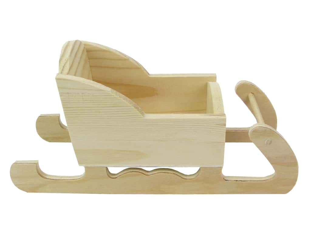 Darice Decor Wood Sleigh Unfinished Pine 8.5 in.