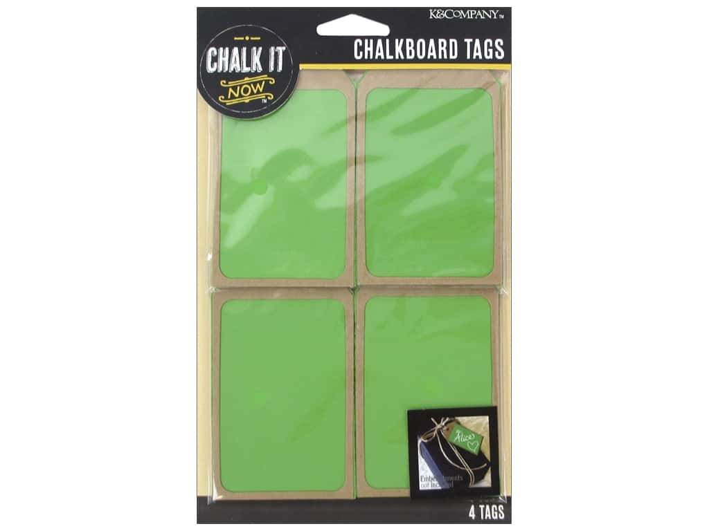 K&Company Chalk It Now Tag Wooden Green