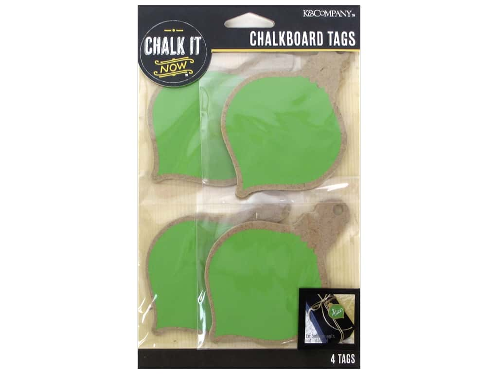 K&Company Chalk It Now Tag Wooden Ornament Green