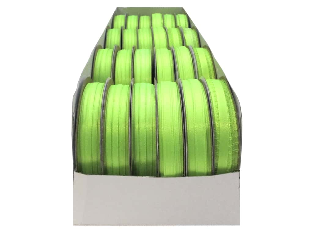 Offray Spool-O-Ribbon Double Face Satin Neon Green (24 spools)