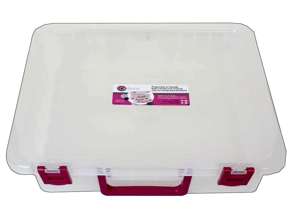 Creative Options Organizer Project Box with Handle Clear
