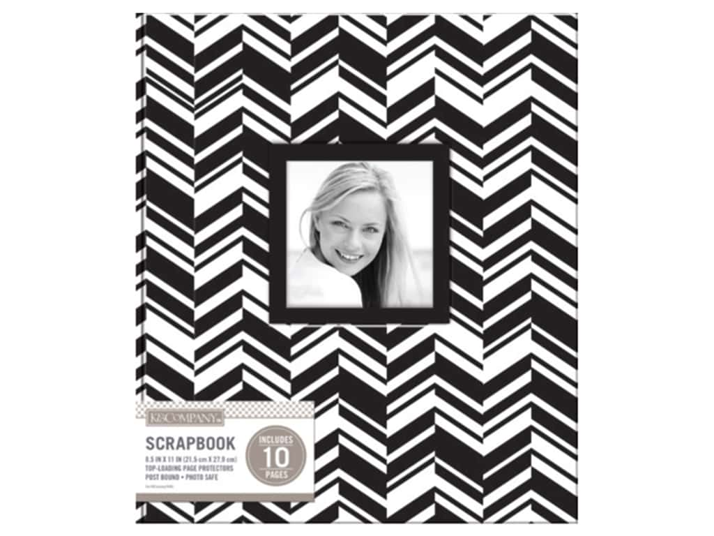 K & Company 8 1/2 x 11 in. Scrapbook Window Album Broken Chevron Black & White
