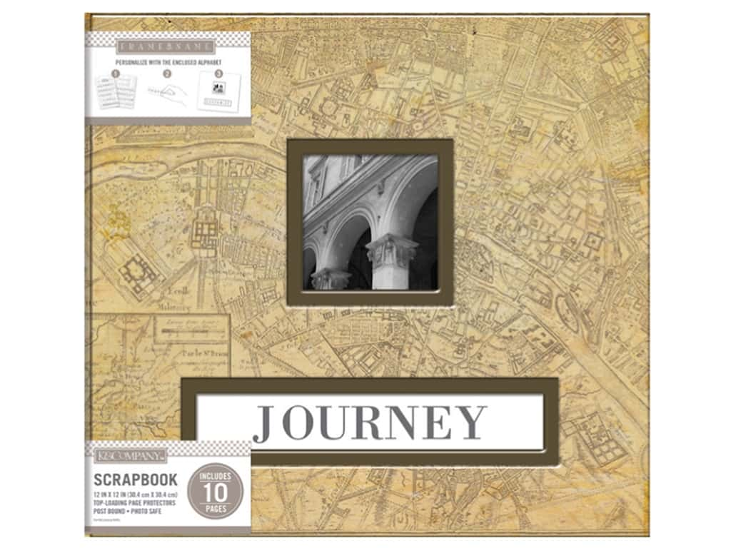 K & Company 12 x 12 in. Scrapbook Frame A Name Album Vintage Map