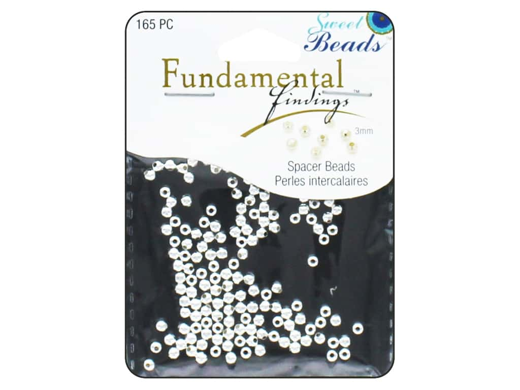 Sweet Beads Fundamental Finding Metal Bead 3 mm Round 165 pc. Silver