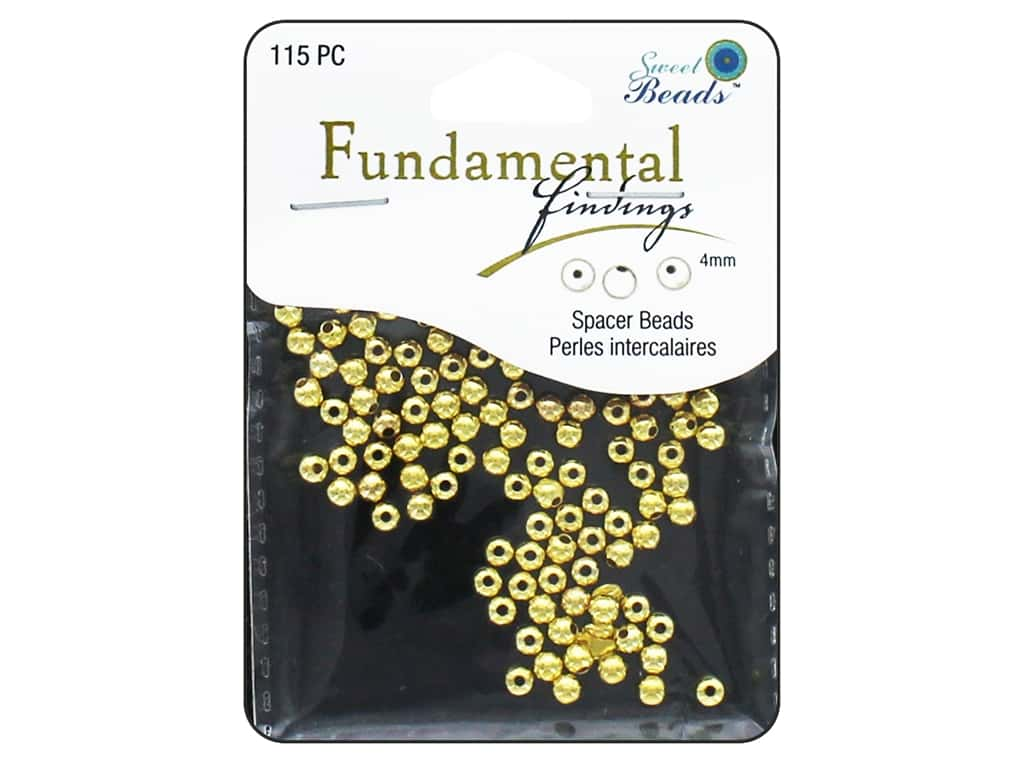 Sweet Beads Fundamental Finding Metal Bead 4 mm Round 115 pc. Gold