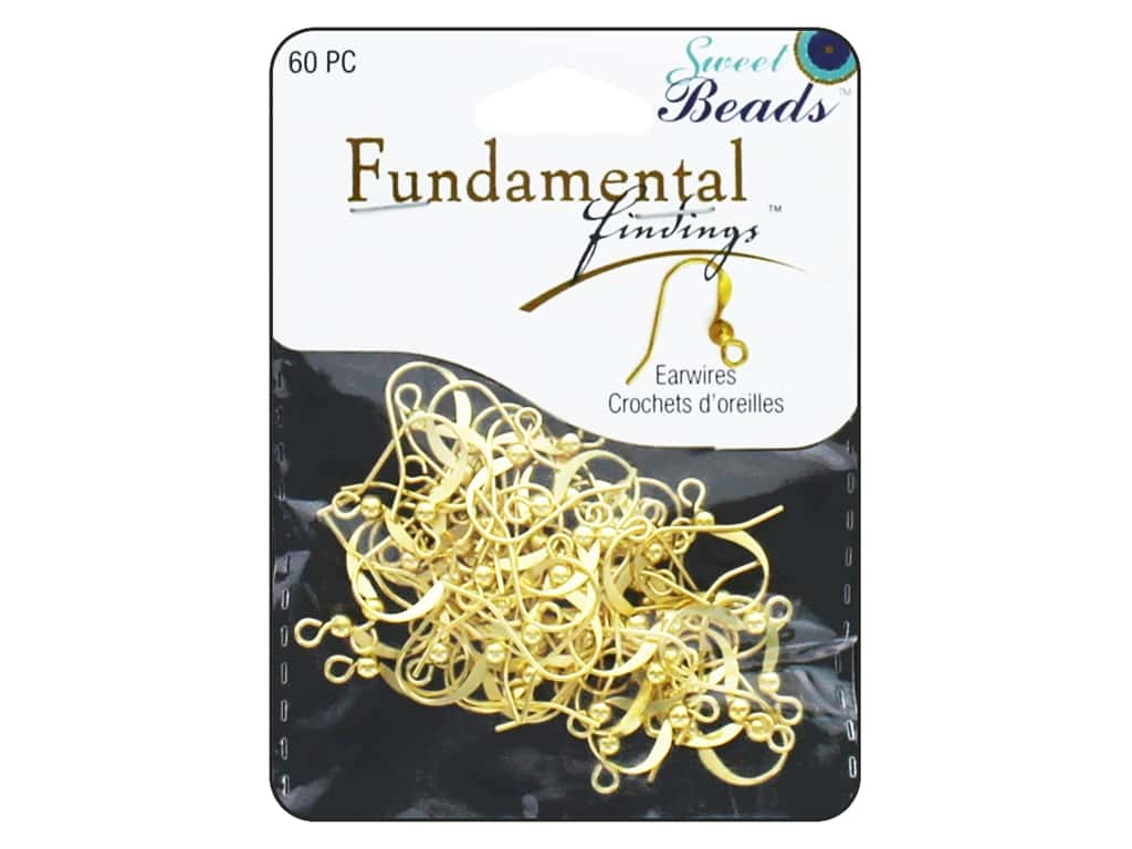 Sweet Beads Fundamental Finding Earwire with Bead Gold 60 pc