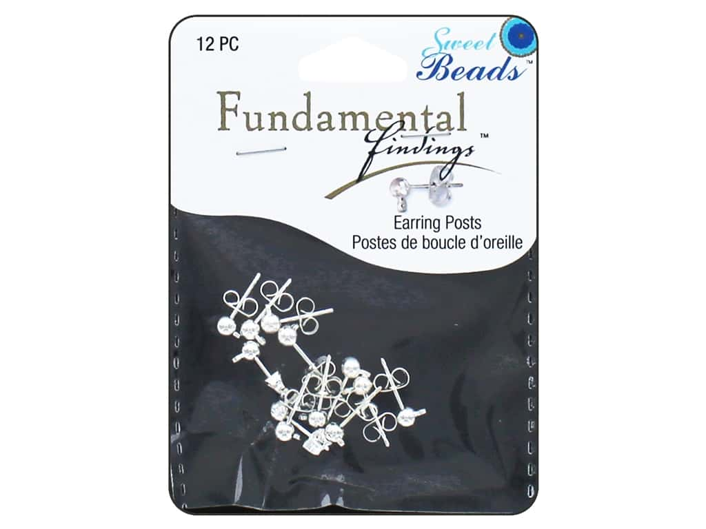 Sweet Beads Fundamental Finding Earring Post with 4 mm Ball Silver 12pc