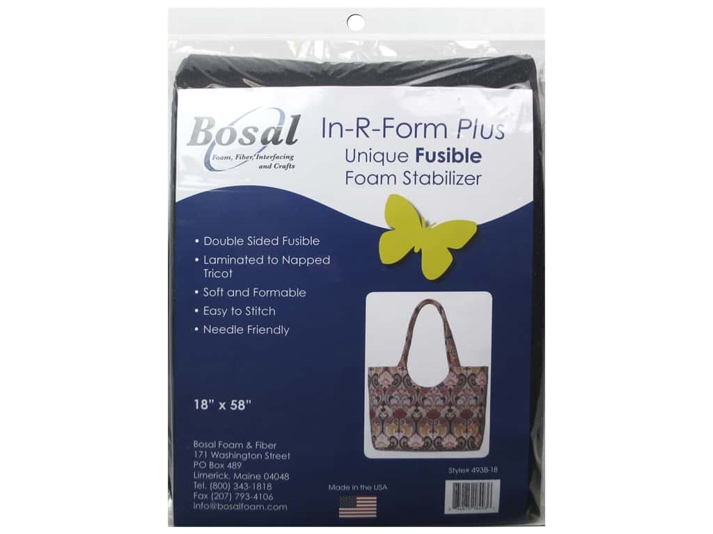 Bosal In-R-Form Plus Fusible Foam Stabilizer 18 x 58 in. Double Sided Black