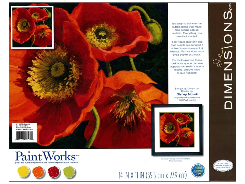 Dimensions PaintWorks Paint By Number 11 in. x 11 in. Red Poppy Trio