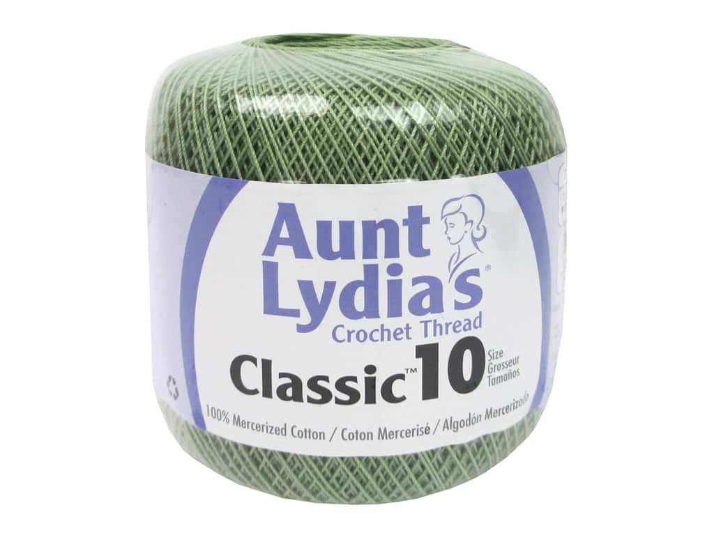 Aunt Lydia's Classic Cotton Crochet Thread Size 10 350 yd. Frosty Green