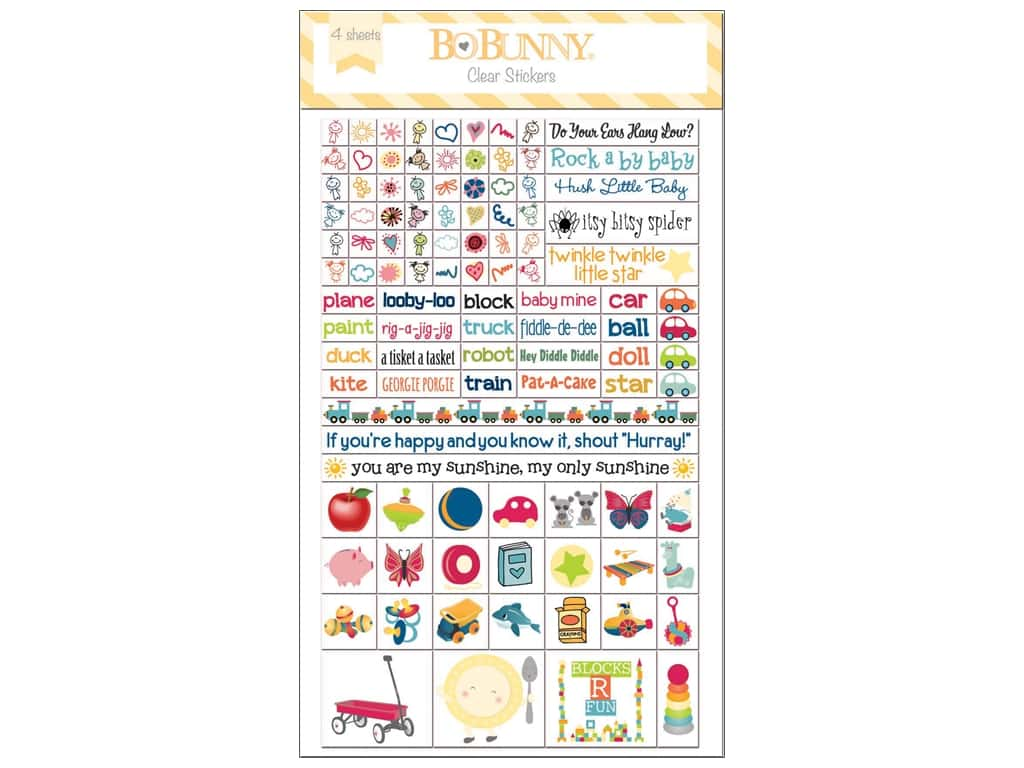 Bo Bunny Clear Stickers Play Time