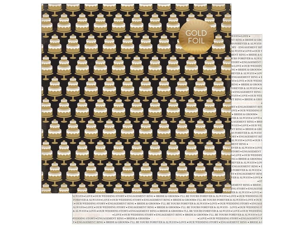 Echo Park Collection Wedding Bliss Paper 12 in. x 12 in. Eat Cake (25 pieces)