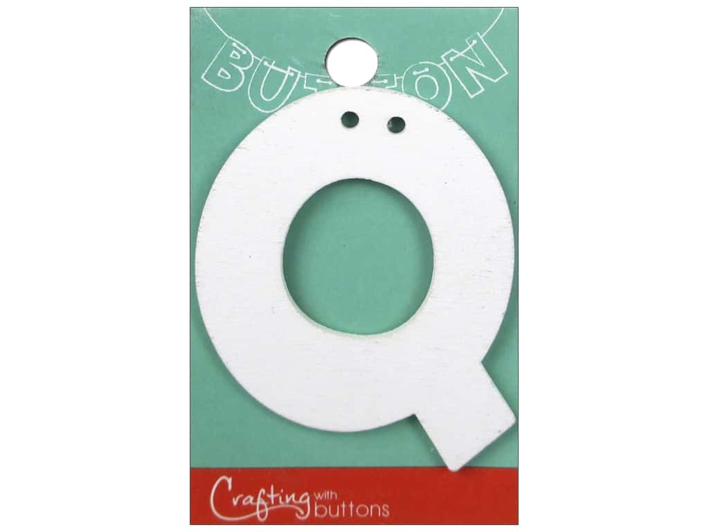 "Crafting With Buttons Wood Letter 2 1/4 in. ""Q"" White"