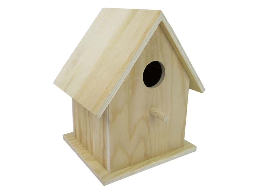 Sierra Pacific Crafts Wood Birdhouse 6 in.  x 4.75 in.  x 7 in.  Natural