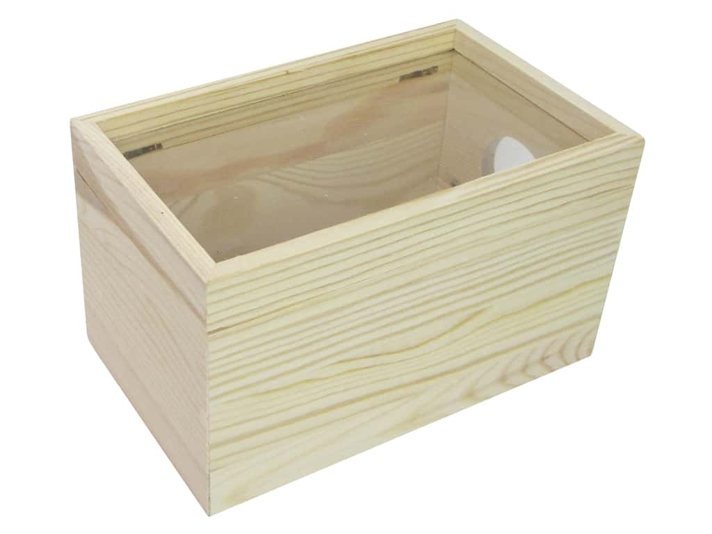 Sierra Pacific Crafts Wood Shadow Box with Window Rectangle Natural