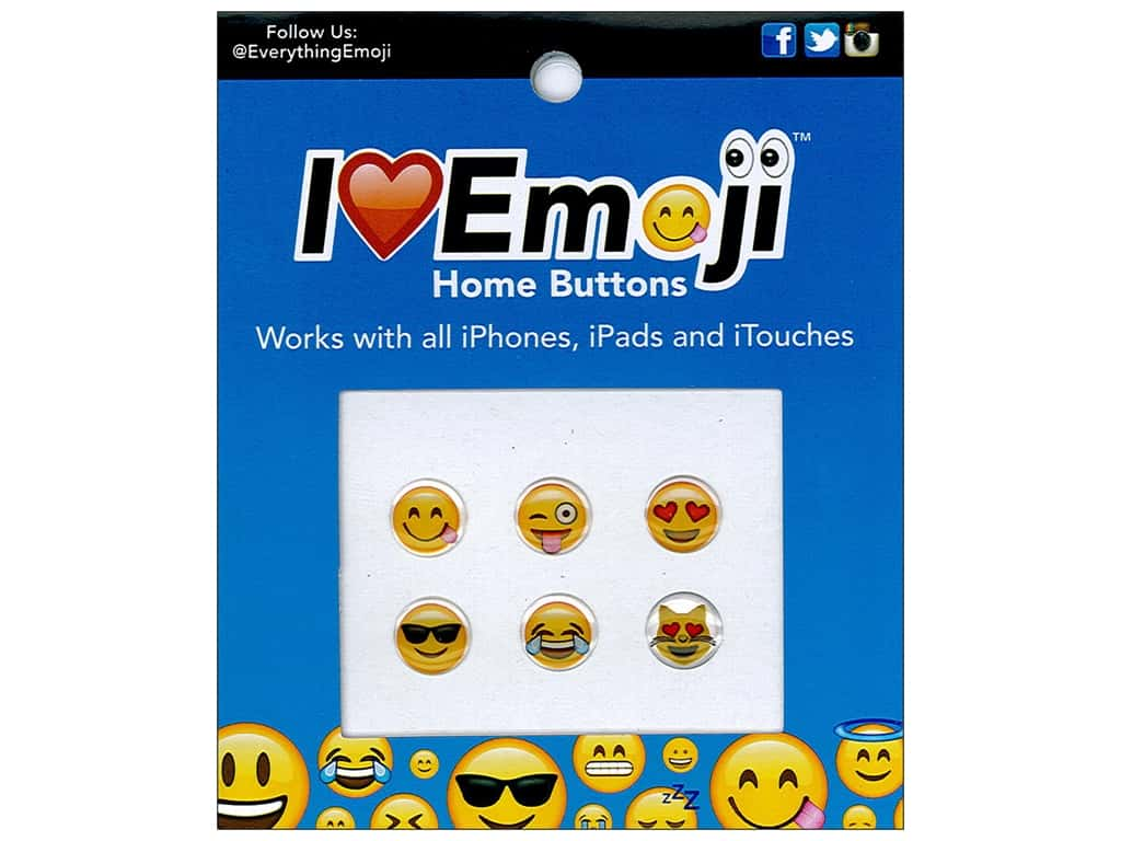 Everything Emoji Epoxy Home Button 6pc Assorted Sets