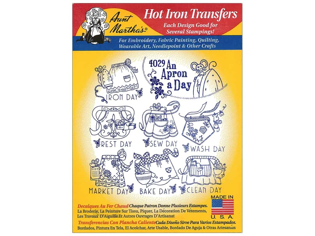 Aunt Martha's Hot Iron Transfer #4029 An Apron A Day