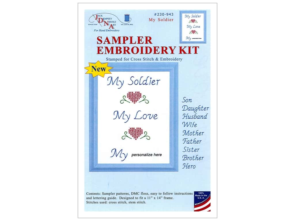 Jack Dempsey Sampler Embroidery Kit - My Soldier