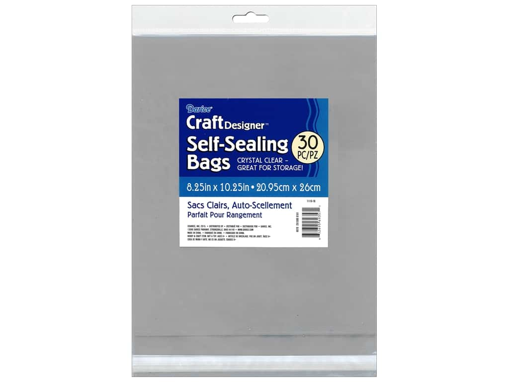 Darice Craft Designer Reclosable Storage Bags 8 1/4 x 10 1/4 in. 30 pc. Clear