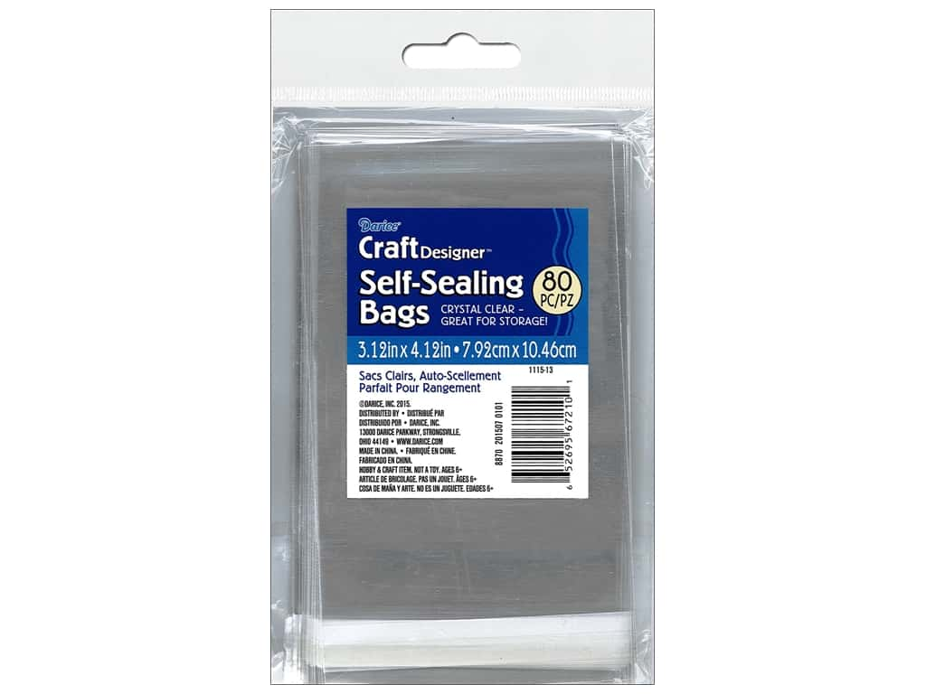 Darice Craft Designer Reclosable Storage Bags 3 1/8 x 4 1/8 in. 80 pc. Clear