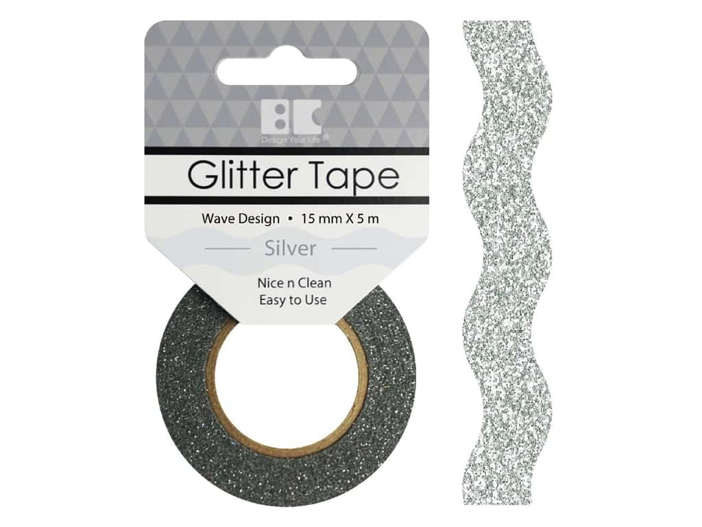 Best Creation Glitter Tape 5/8 in. x 5 1/2 yd. Wave Silver