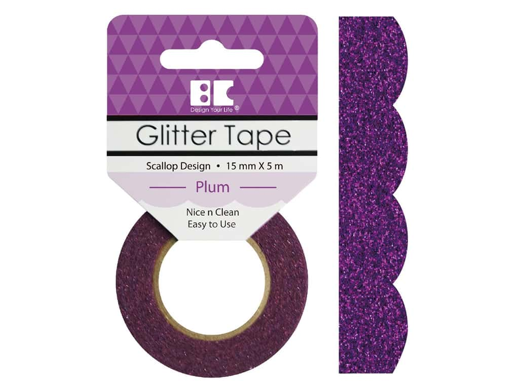 Best Creation Glitter Tape 5/8 in. x 5 1/2 yd. Scallop Plum