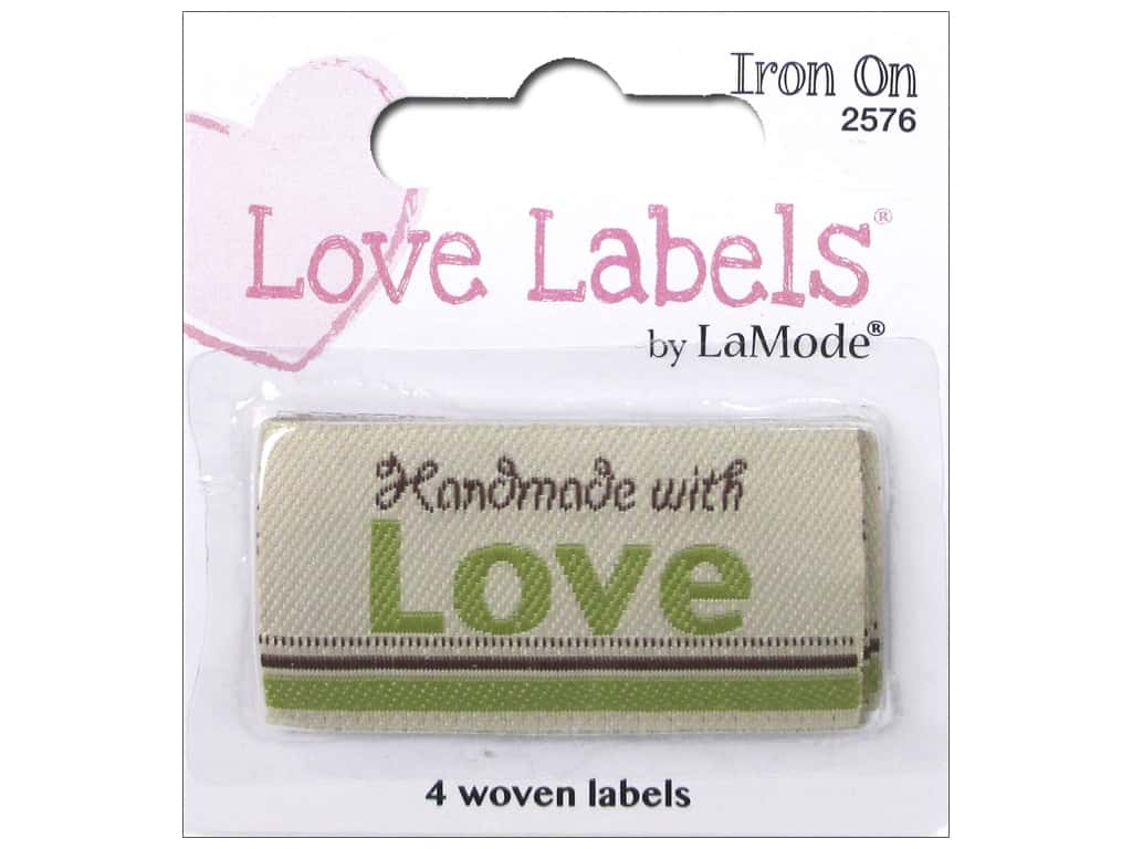 Blumenthal Iron-On Lovelabels 4 pc. Handmade With Love Natural
