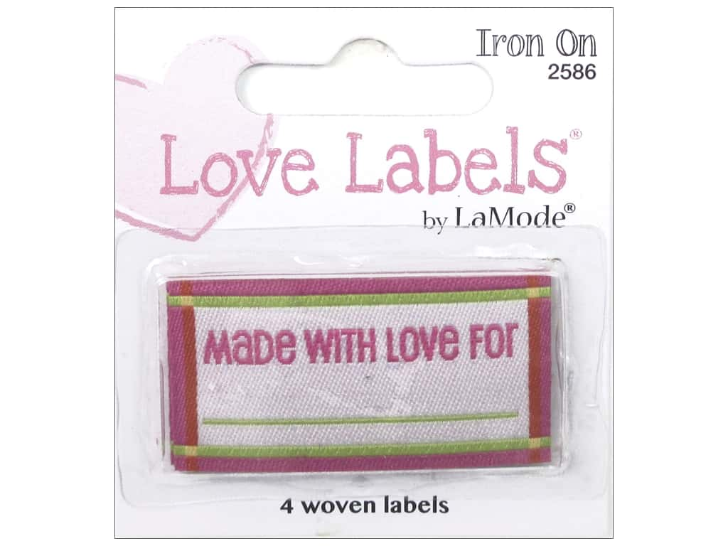 Blumenthal Iron-On Lovelabels 4 pc. Made With Love For Pink