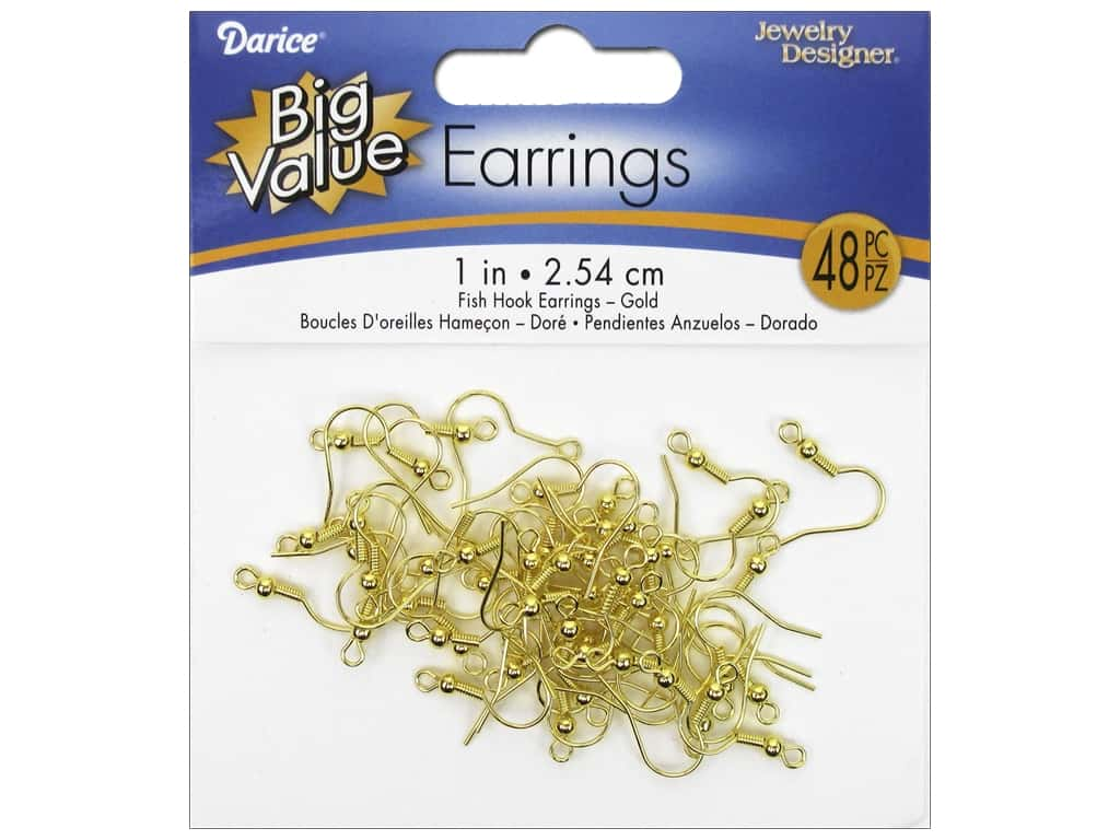 Darice French Hook Earring Wires 3/4 in. 48 pc. Gold