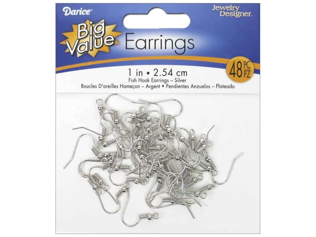 Darice French Hook Earring Wires 3/4 in. 48 pc. Silver