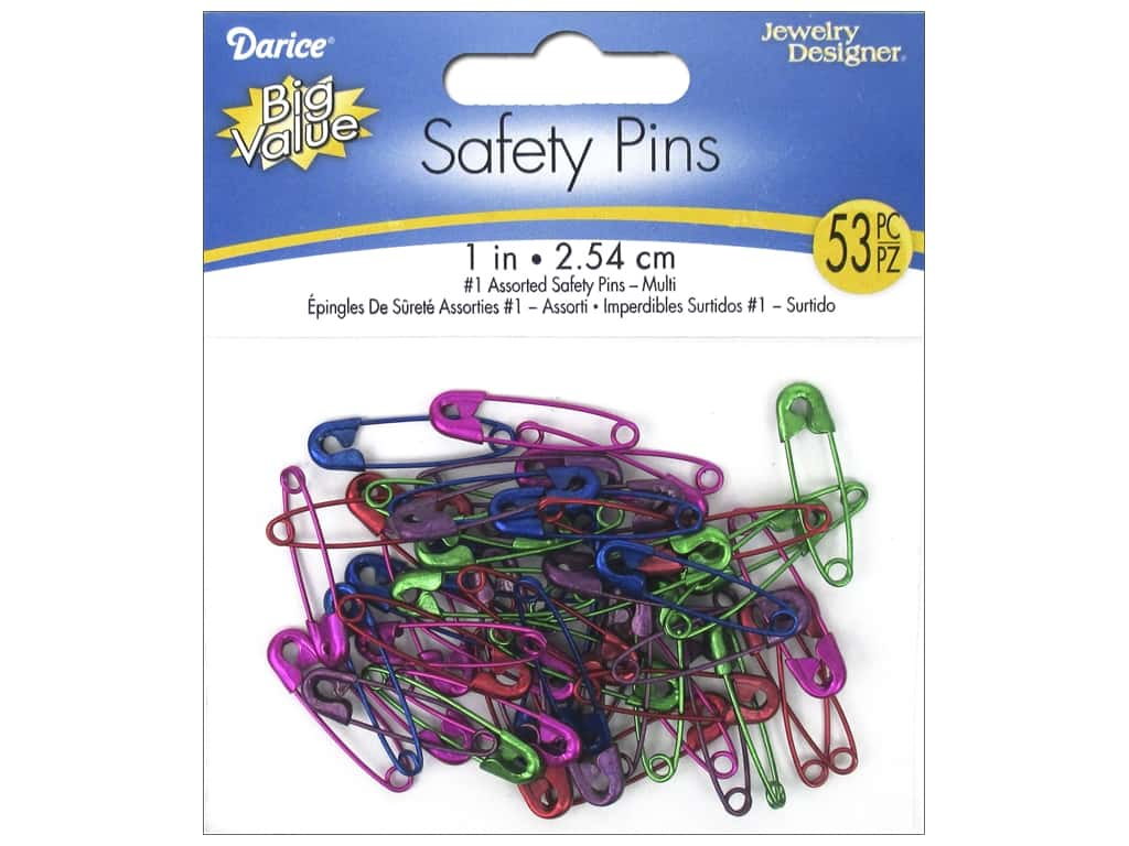 Darice Jewelry Designer Safety Pins 1 in. Assorted Colors 53 pc.
