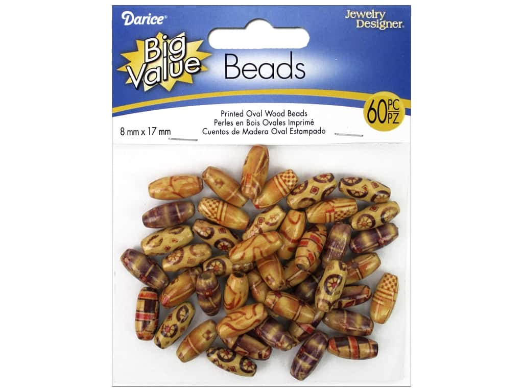 Darice Printed Wood Beads 8 x 17 mm Oval 60 pc.