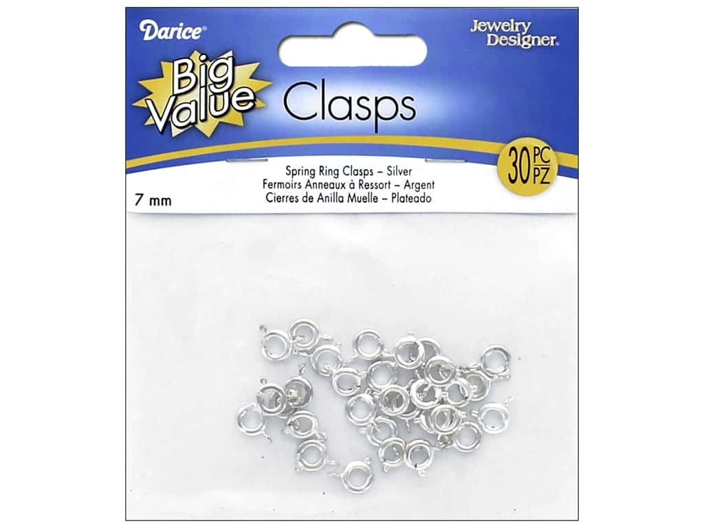 Darice Jewelry Designer Spring Rings 7 mm Bright Silver Plated 36 pc.