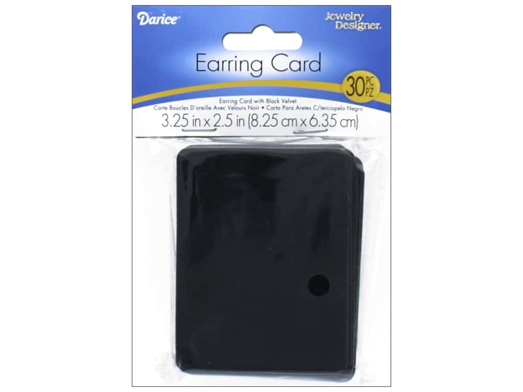 Darice Earring Display Cards 3 1/2 x 2 1/2 in. Black Velvet 30 pc.