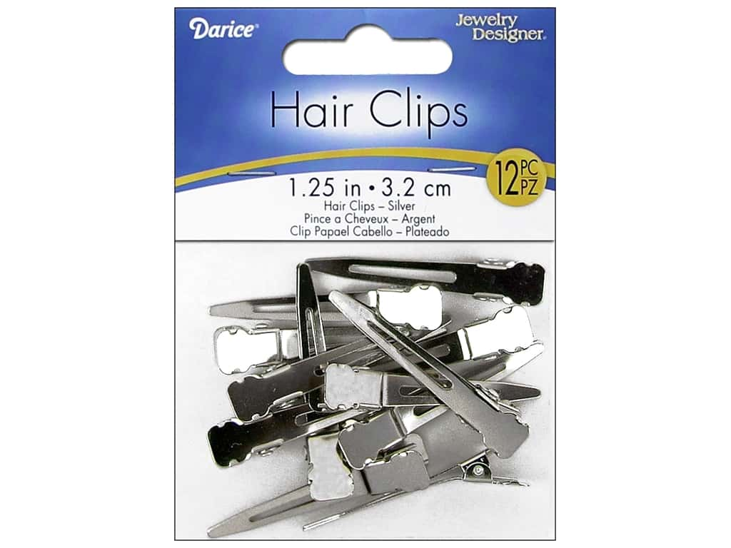 Darice Alligator Hair Clips 1 1/4 in. Nickel 12 pc.