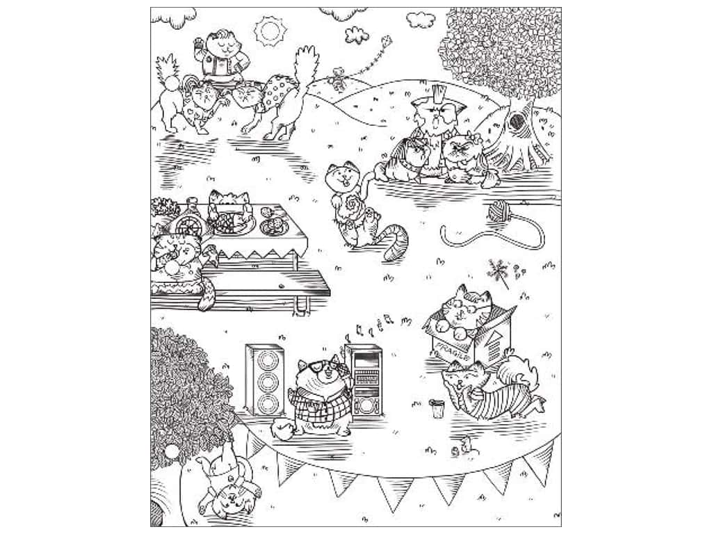 American Crafts Adult Coloring Folder 9 1/2 x 12 in. Hall Pass Kitty Karaoke
