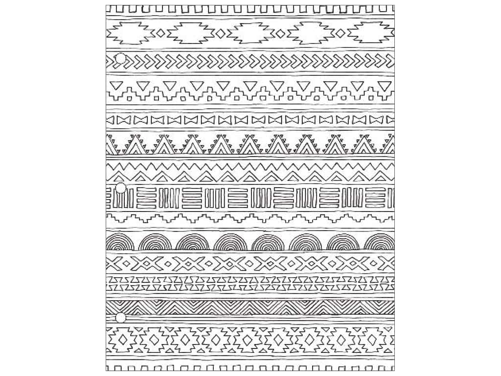 American Crafts Adult Coloring Folder 9 1/2 x 12 in. Hall Pass Tribal