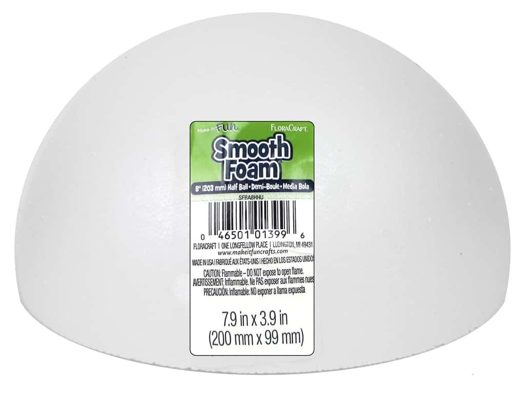 FloraCraft Smooth Foam Hollow Half Ball 8 in. 1 pc.