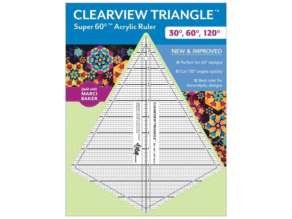 C&T Publishing Clearview Triangle Super 60 Acrylic Ruler 30, 60, 120 Degree