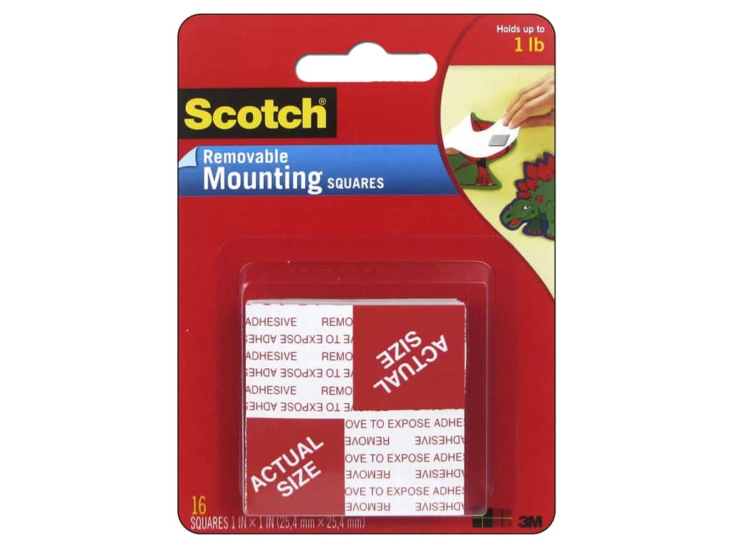Scotch Mounting Squares Removable 1 in. 16 pc