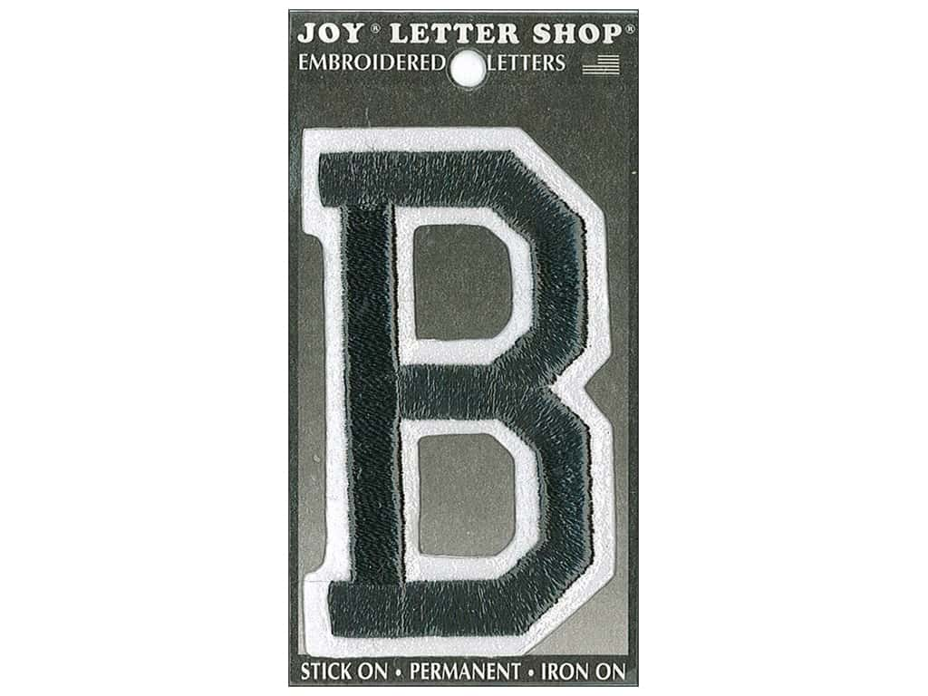 "Joy Lettershop Iron-On Embroidered Letter ""B"" 3 in. Black"