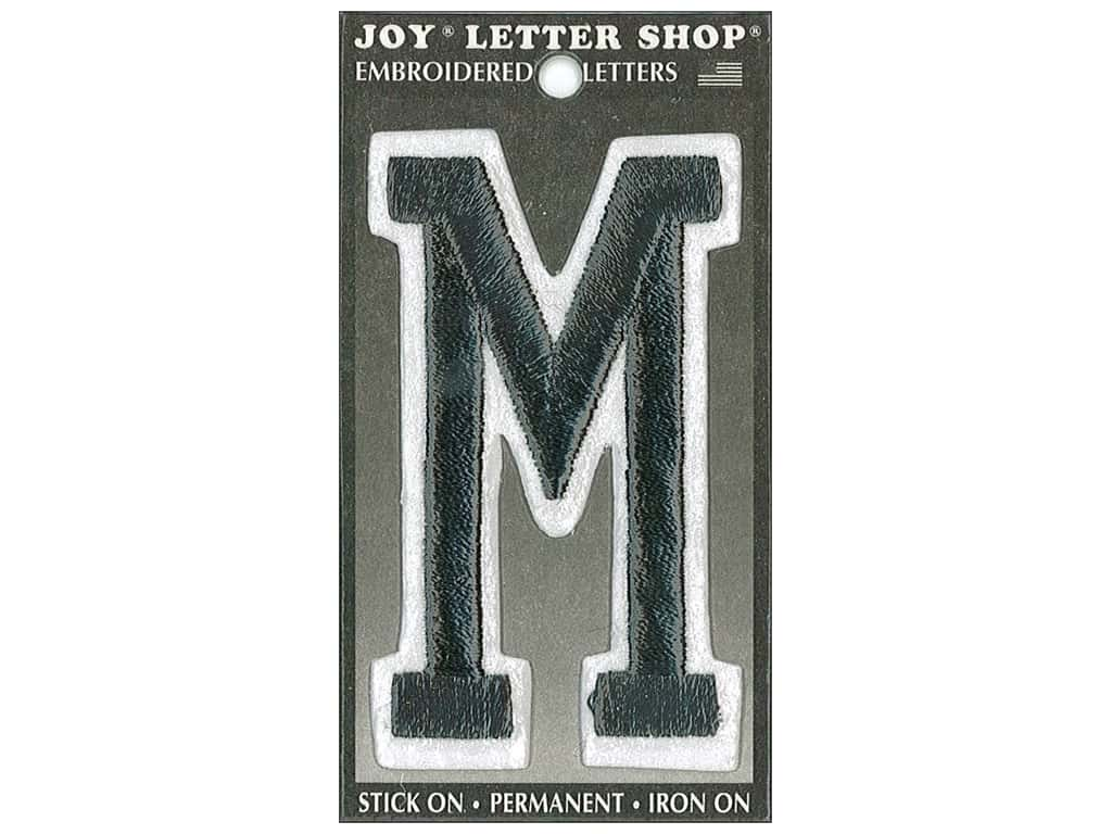 "Joy Lettershop Iron-On Embroidered Letter ""M"" 3 in. Black"