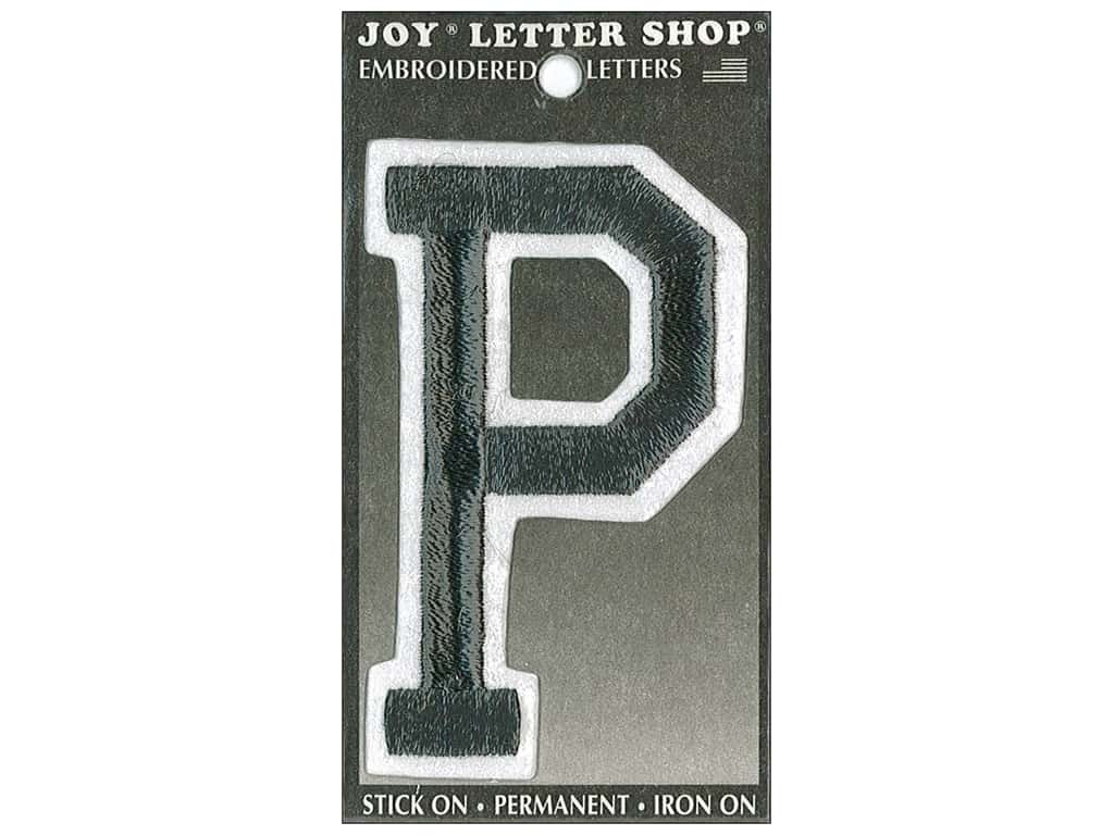 "Joy Lettershop Iron-On Embroidered Letter ""P"" 3 in. Black"