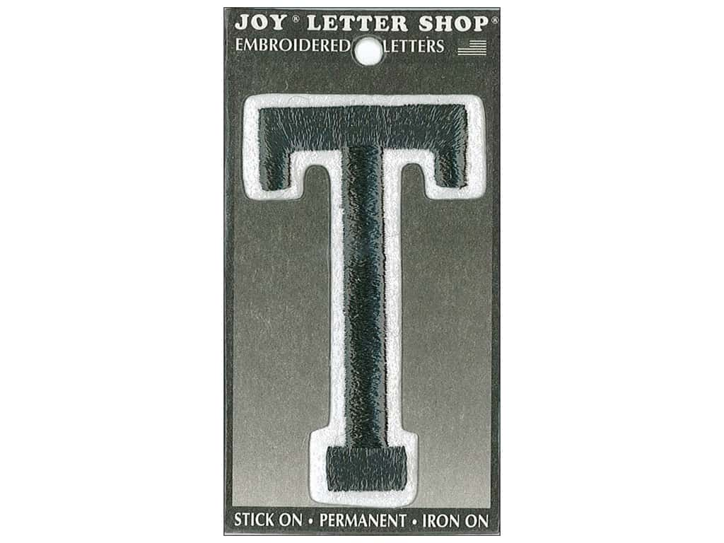 "Joy Lettershop Iron-On Embroidered Letter ""T"" 3 in. Black"