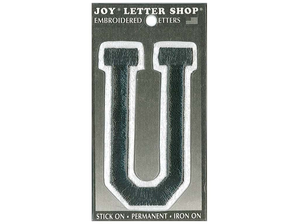 "Joy Lettershop Iron-On Embroidered Letter ""U"" 3 in. Black"