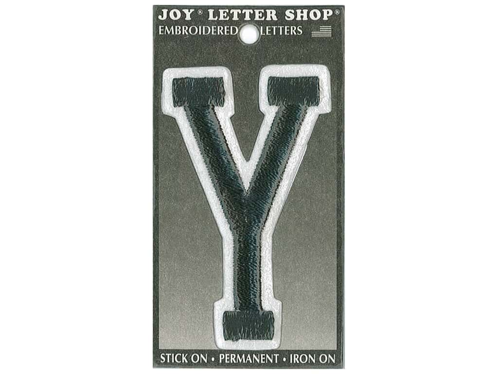 "Joy Lettershop Iron-On Embroidered Letter ""Y"" 3 in. Black"