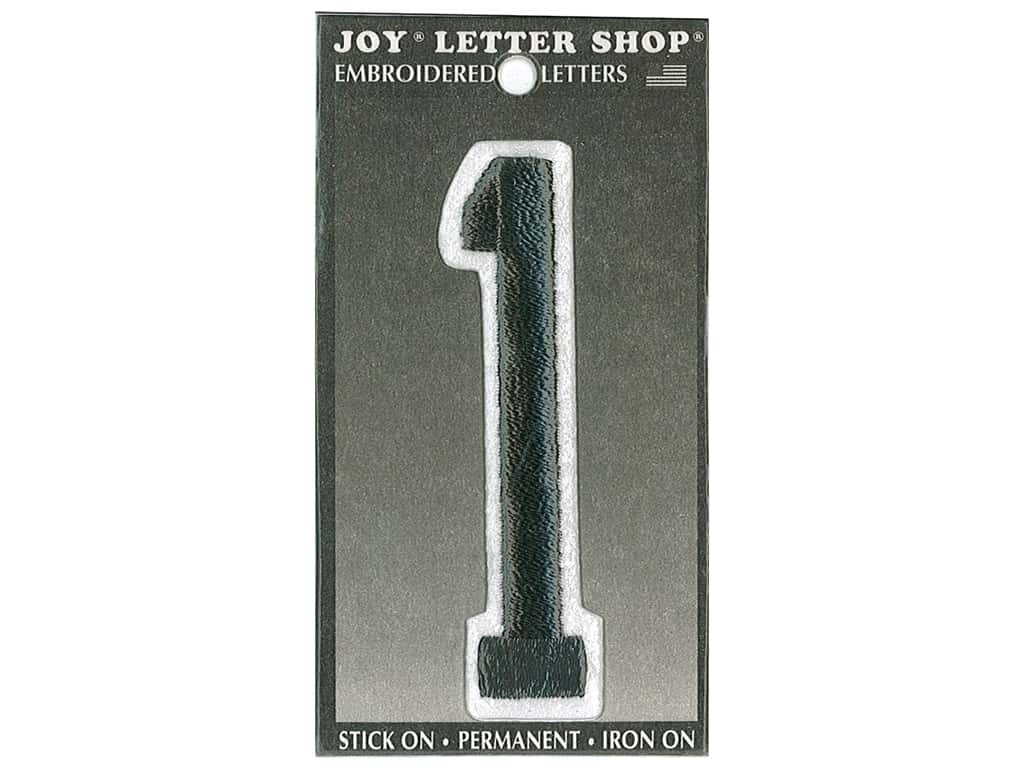"Joy Lettershop Iron-On Embroidered Number ""1"" 3 in. Black"