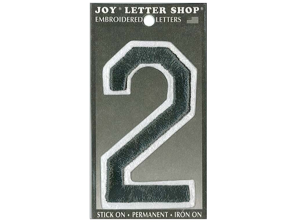 "Joy Lettershop Iron-On Embroidered Number ""2"" 3 in. Black"