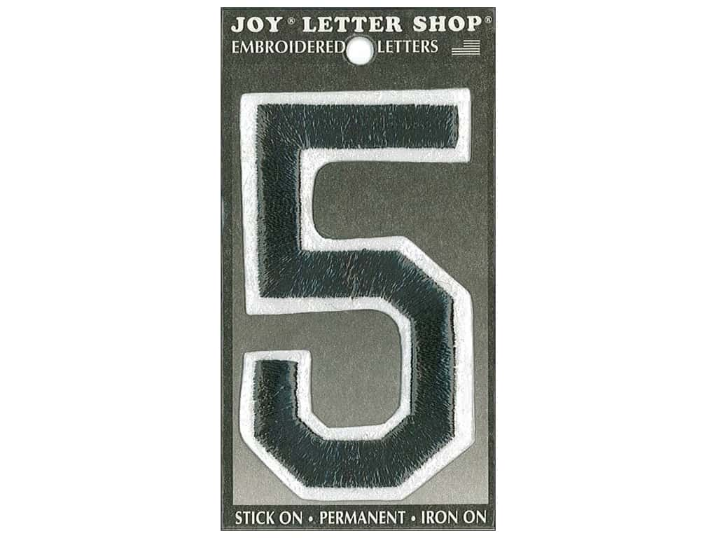 "Joy Lettershop Iron-On Embroidered Number ""5"" 3 in. Black"