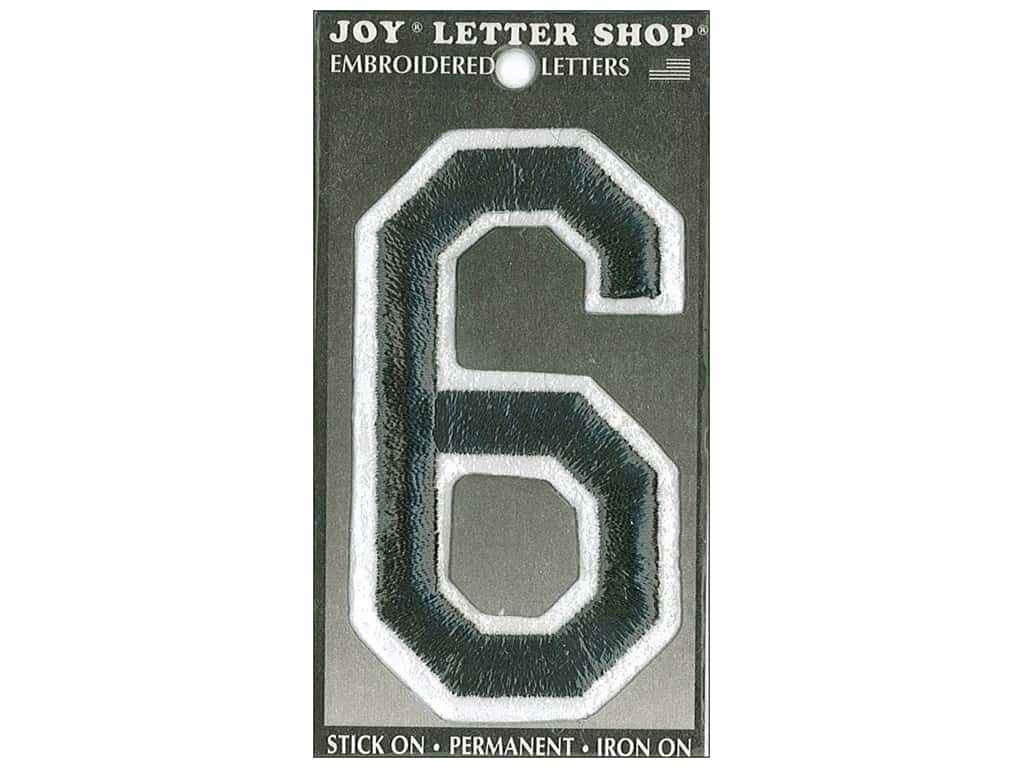"Joy Lettershop Iron-On Embroidered Number ""6"" 3 in. Black"